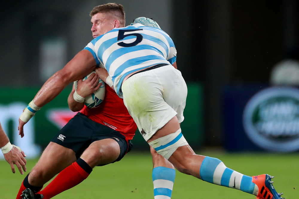 Tomas Lavanini has been banned for four matches for this tackle on Owen Farrell. Photo: Getty Images