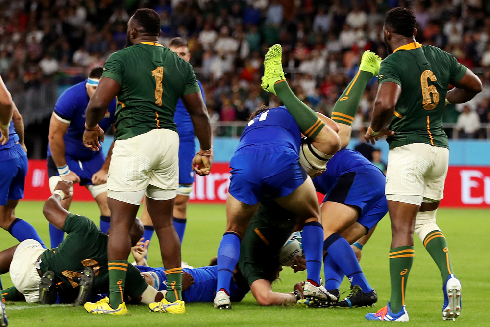 Two Italian props were handed three-match suspensions for this spear tackle. Photo: Getty Images