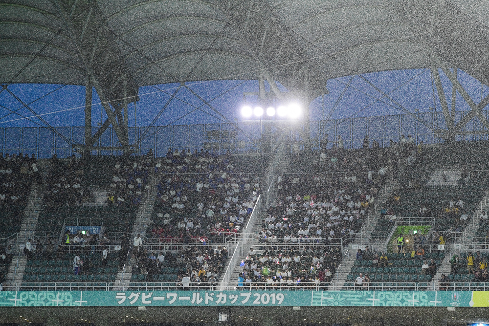 The rain was pelting down in Shizuoka. Photo: RUGBY.com.au/Stuart Walmsley