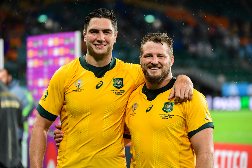 Rob Simmons and James Slipper shared his milestone moment. Photo: RUGBY.com.au/Stuart Walmsley