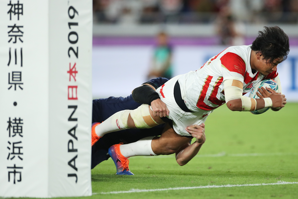 Prop Keita Inagaki scored a spectacular Japan try. Photo: Getty Images