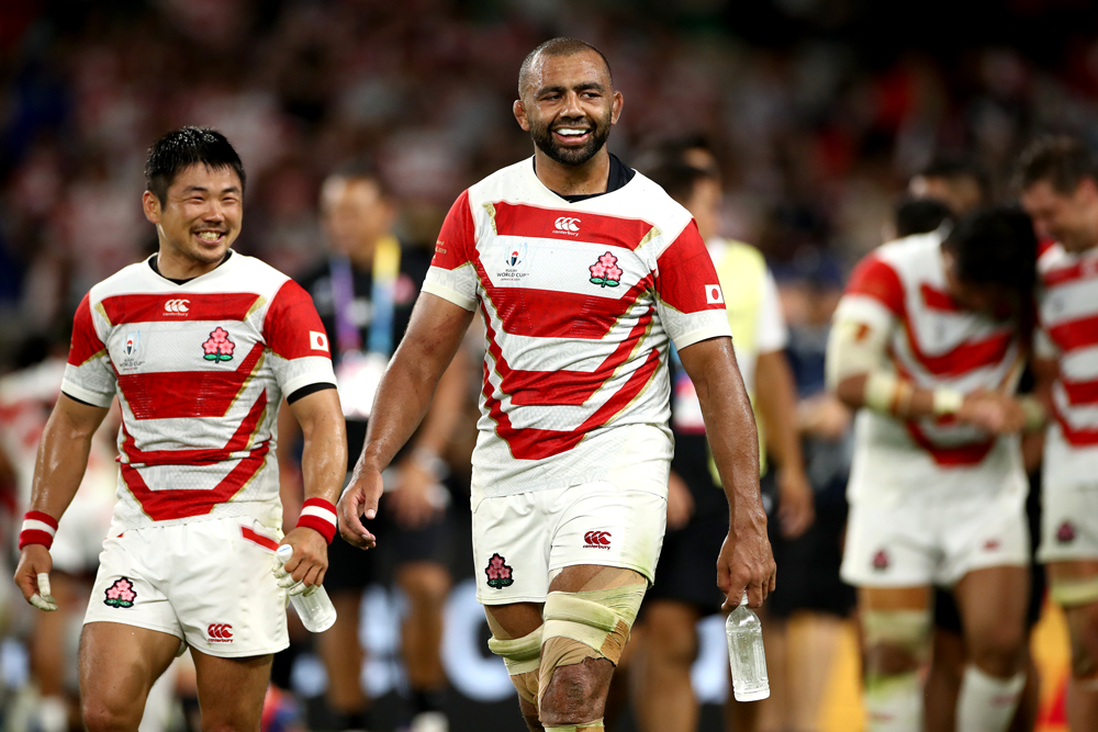Michael Leitch was quick to pay tribute to victims of Typhoon Hagibis after Japan's historic win over Scotland. Photo: Getty Images