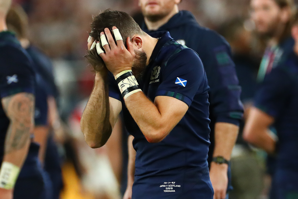 Scotland were knocked out of the Rugby World Cup after a loss to Japan. Photo: Getty Images