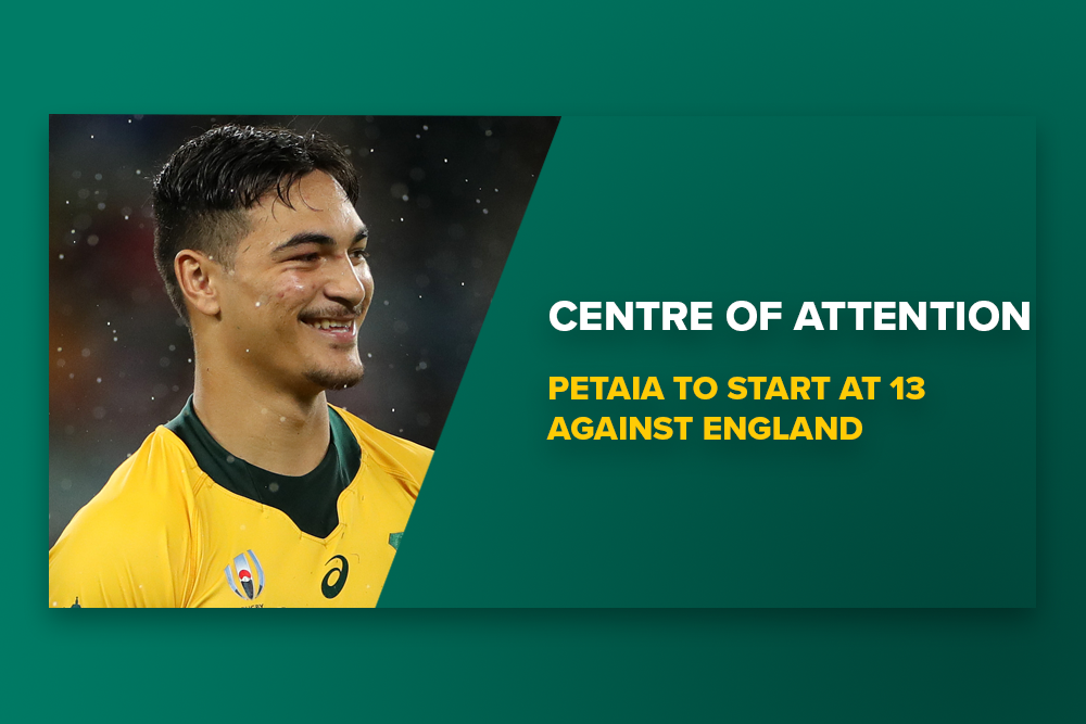 Jordan Petaia will start at 13 against England in Australia's Rugby World Cup quarter-final. Photo: RUGBY.com.au