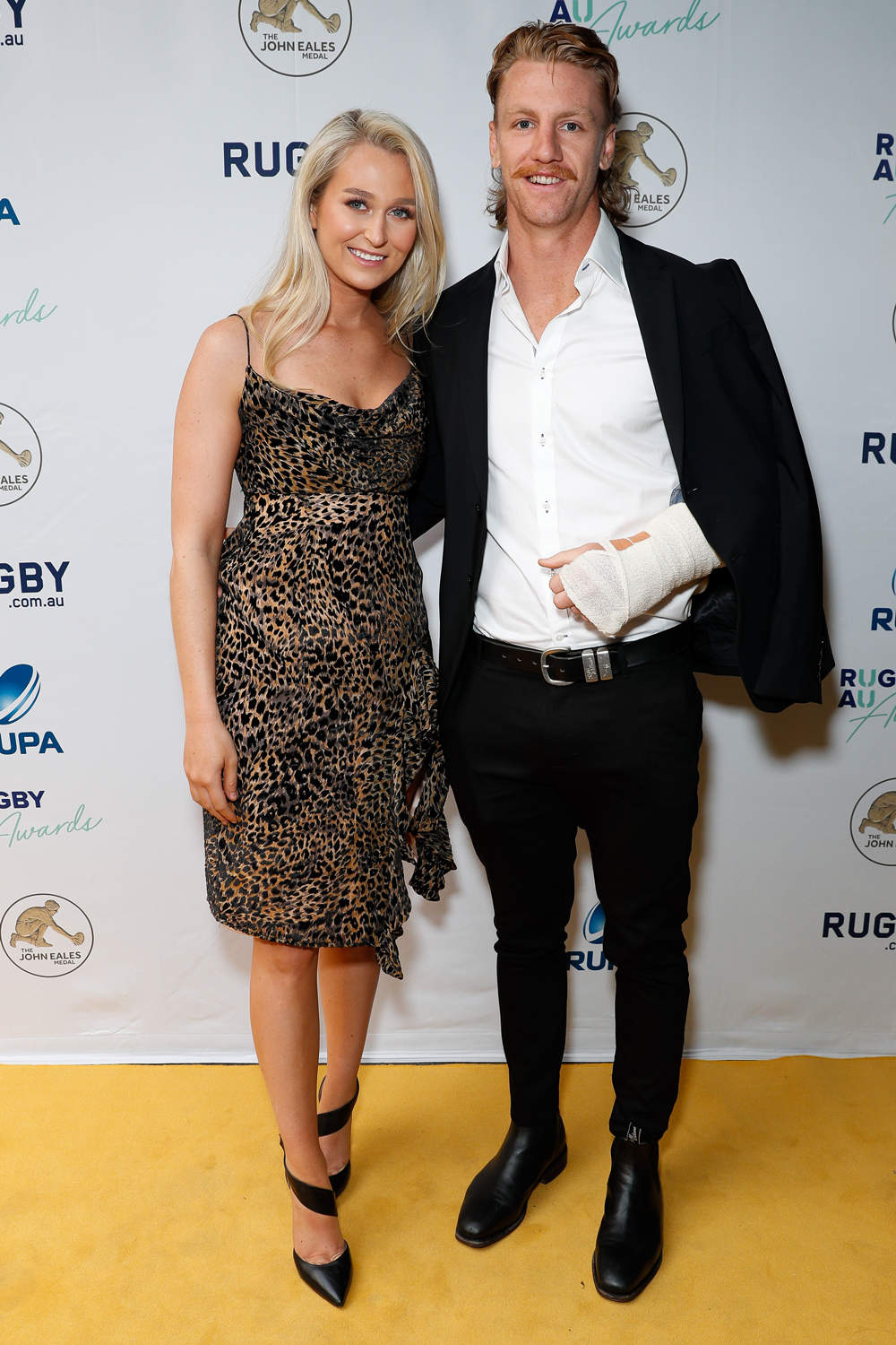 Ben O'Donnell and partner Caitlin Milne at the Rugby Australia Awards. Photo: Getty Images