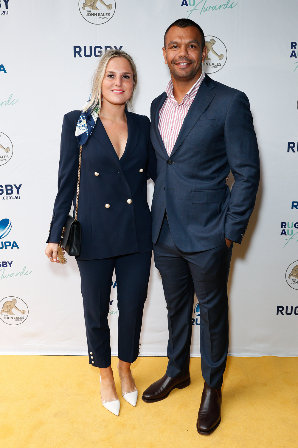 Kurtley Beale and partner Madi Blomberg at the Rugby Australia Awards. Photo: Getty Images