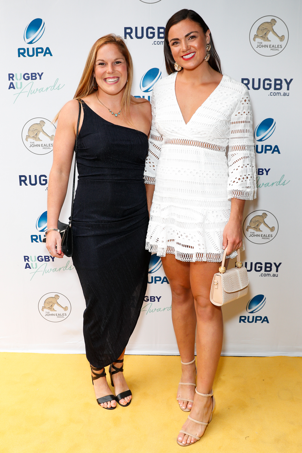 Wallaroos duo Emily Chancellor and Millie Boyle at the Rugby Australia Awards. Photo: Getty Images