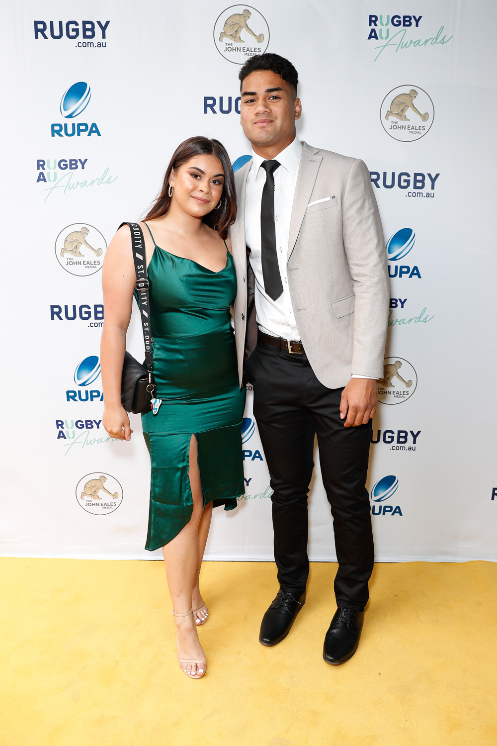 Aussie Sevens youngster Jeral Skelton and his partner arriving at the Rugby Australia Awards. Photo: Getty Images