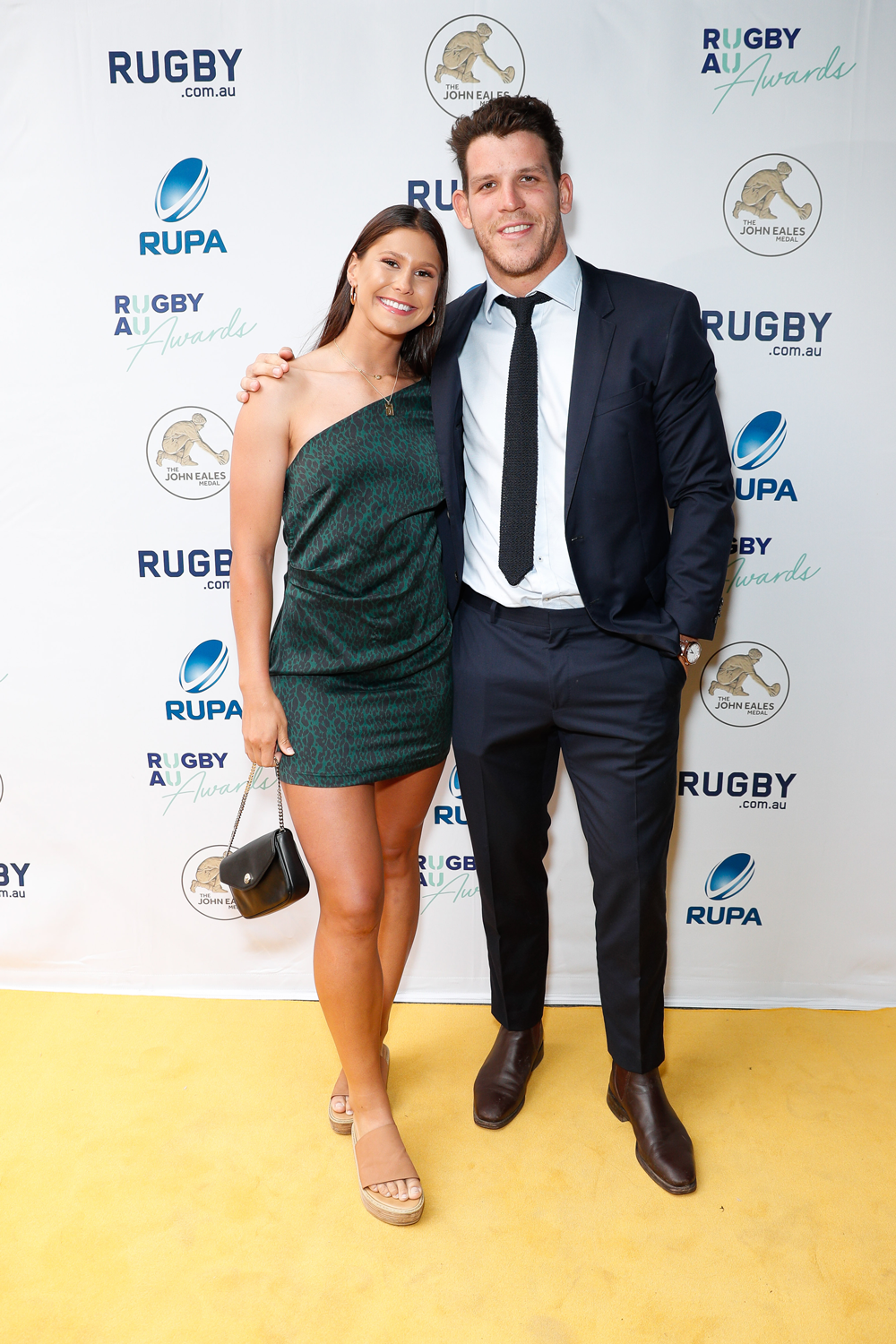 Sevens stars Demi Hayes and Simon Kennewell at the Rugby Australia Awards. Photo: Getty Images