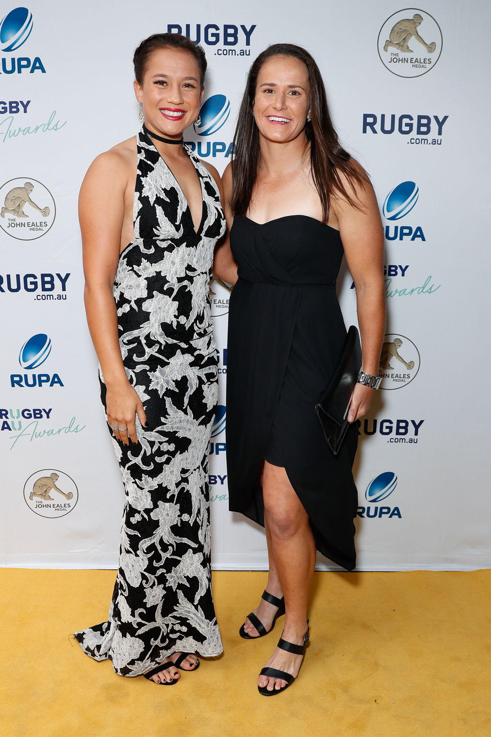 Aussie Sevens players Page McGregor and Shannon Parry at the Rugby Australia Awards. Photo: Getty Images