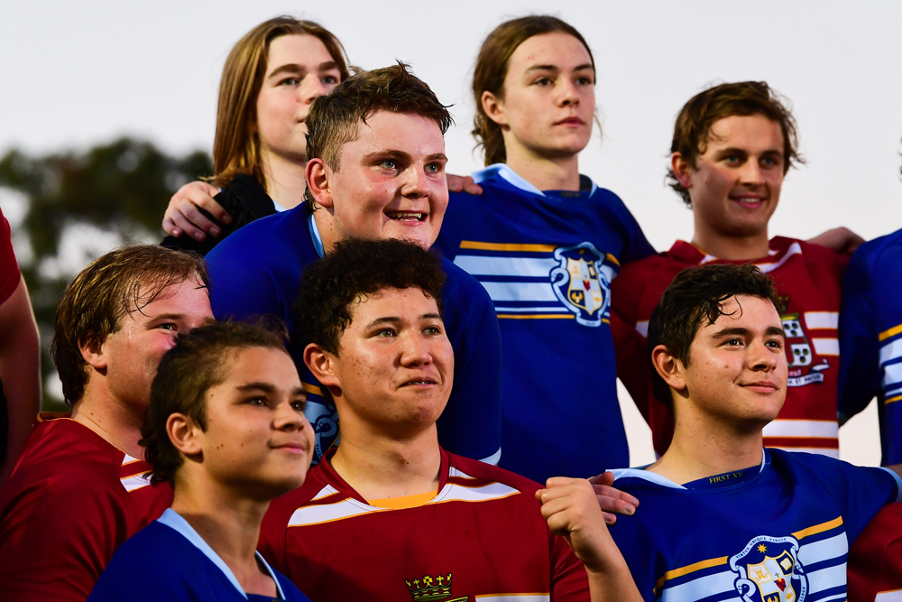 Prince Alfred College and Sacred Heart College players after a SASRU fixture this year. Photo: Rugby AU Media/Stuart Walmsley