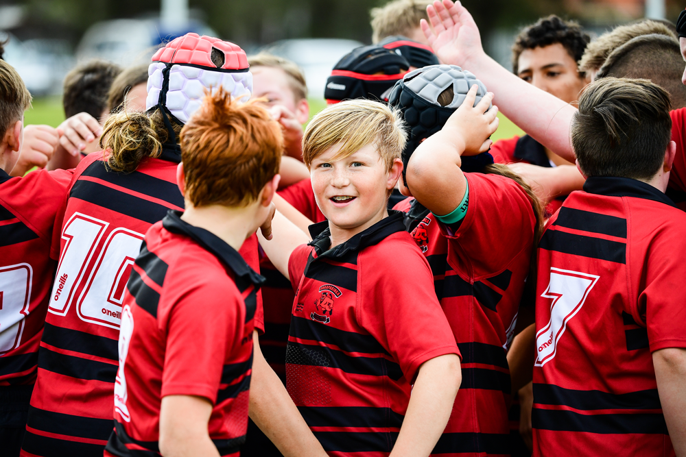 The Onkaparinga huddle before a junior fixture at Elizabeth RUFC this season. Photo: Rugby AU Media/Stuart Walmsley