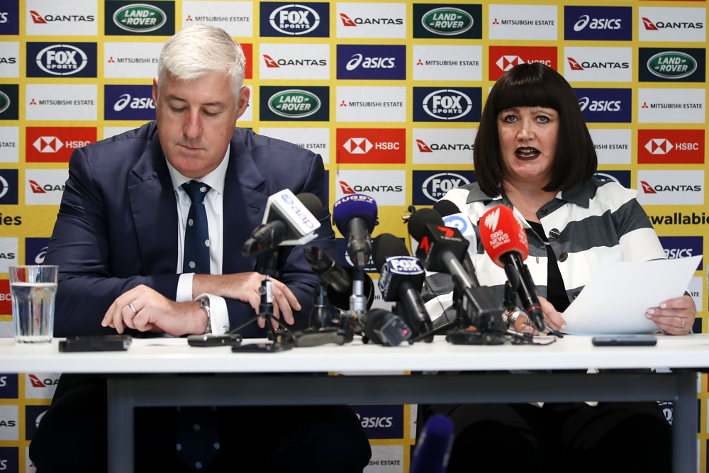 Cameron Clyne and Raelene Castle after the announcement of Castle as Rugby Australia CEO. Photo: Getty Images