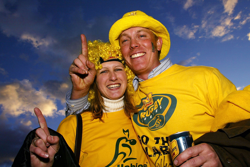 Wallabies fans soak up the 2003 Rugby World Cup atmosphere. Photo: Getty Images