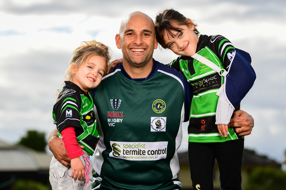 Vic Masters president Brendon Matthews with daughters Ayla and Chloe. Photo: Rugby AU Media/Stuart Walmsley