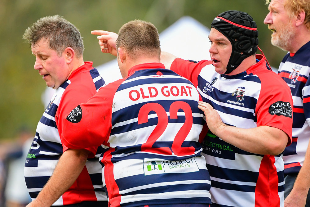 Old Goats can be stubborn. The Box Hill Unquenchables sort out some positional issues. Photo: Rugby AU Media/Stuart Walmsley