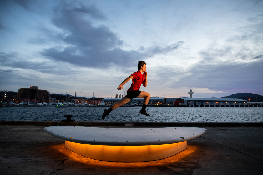 Martyn Szoke trains along Hobart foreshore. Photo: Rugby AU Media/Stuart Walmsley