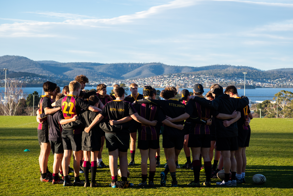 Hutchins students train on the backdrop of Sandy Bay. Photo: Rugby AU Media/Stuart Walmsley