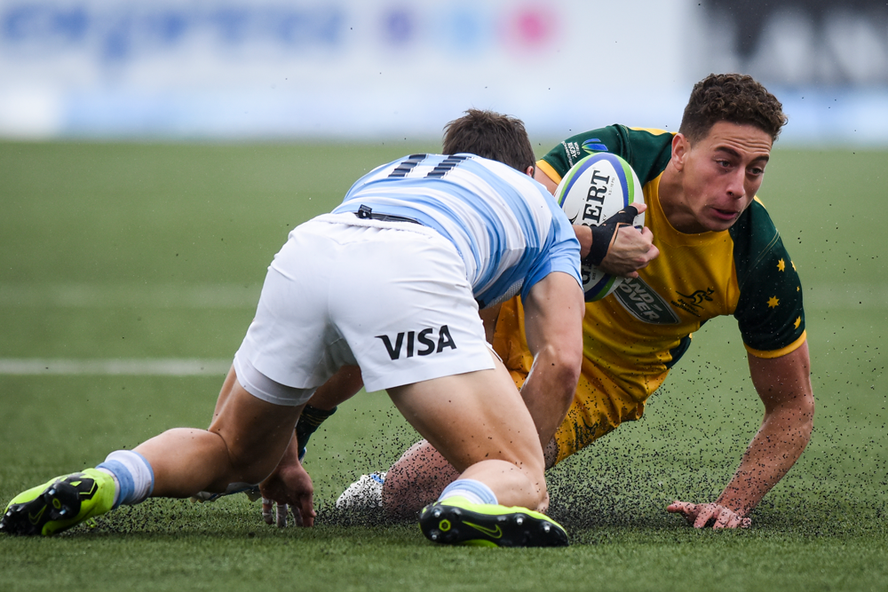 The high tackle warning system was trialled in the World Rugby U20s Championships. Photo: Getty Images