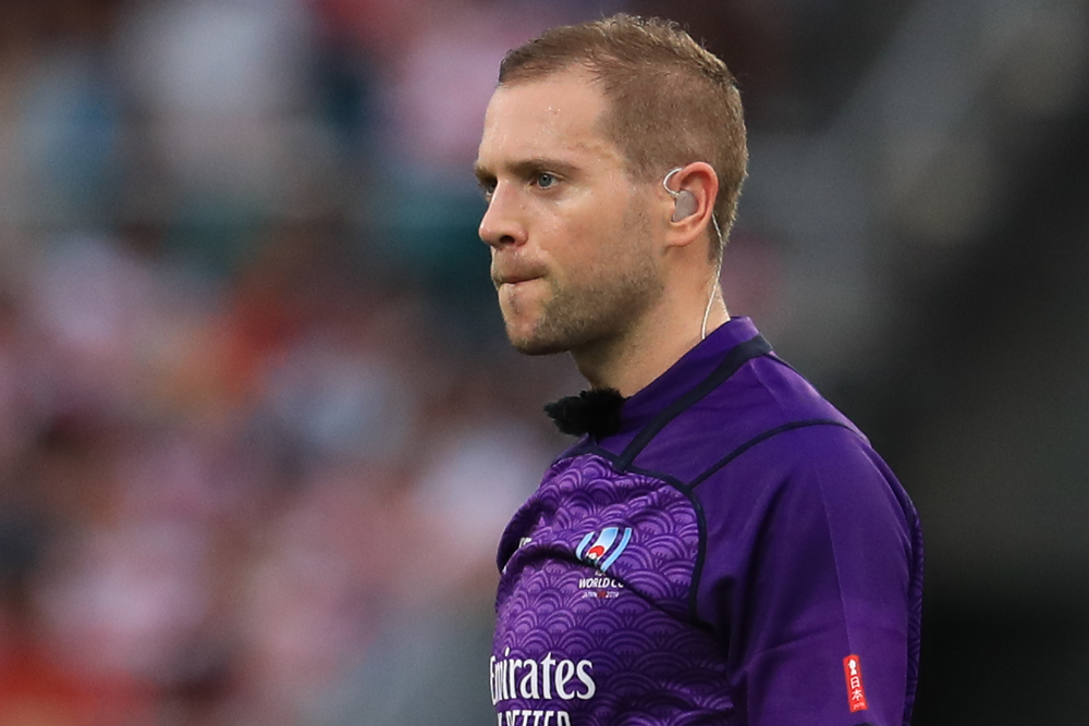 Angus Gardner is one of three Aussies in the Super Rugby refereeing group for 2020. Photo: Getty Images