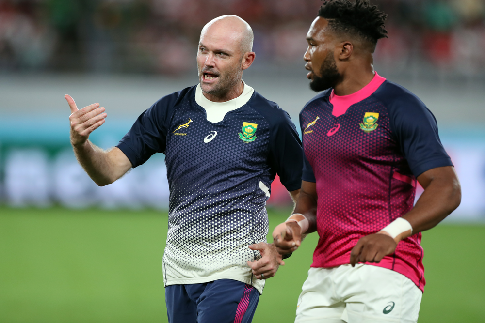 Jacques Nienaber working with the Springboks in the 2019 Rugby World Cup. Photo: Getty Images