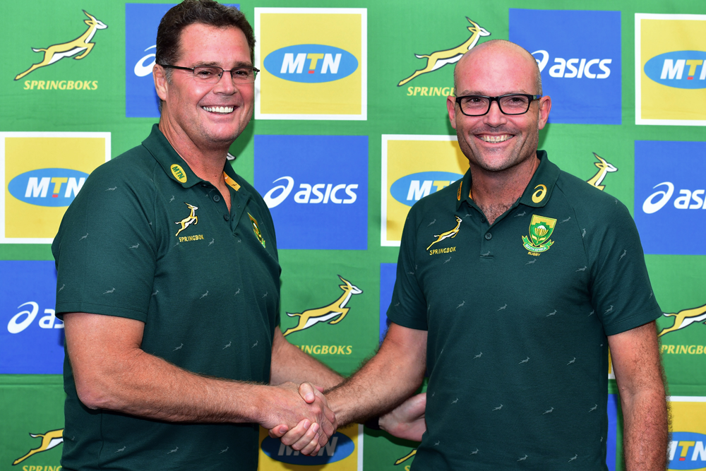 Rassie Erasmus hands over the South African coaching reins to Jacques Nienaber. Photo: Getty Images