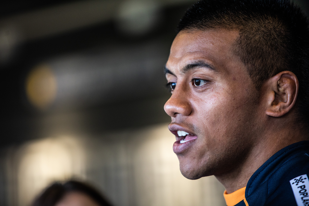 Allan Alaalatoa speaks to media after being appointed Brumbies captain. Photo: Getty Images