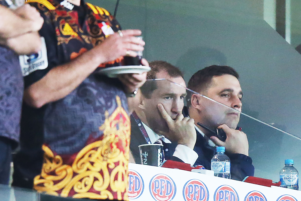 Dave Wessels and attack coach Shaun Bern watching on in the final match of 2019. Photo: Getty Images