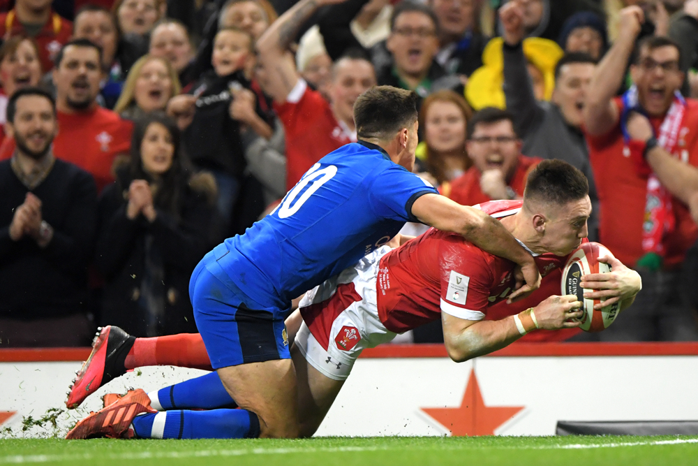 Josh Adams scored a hat-trick for Wales against Italy. Photo: Getty Images