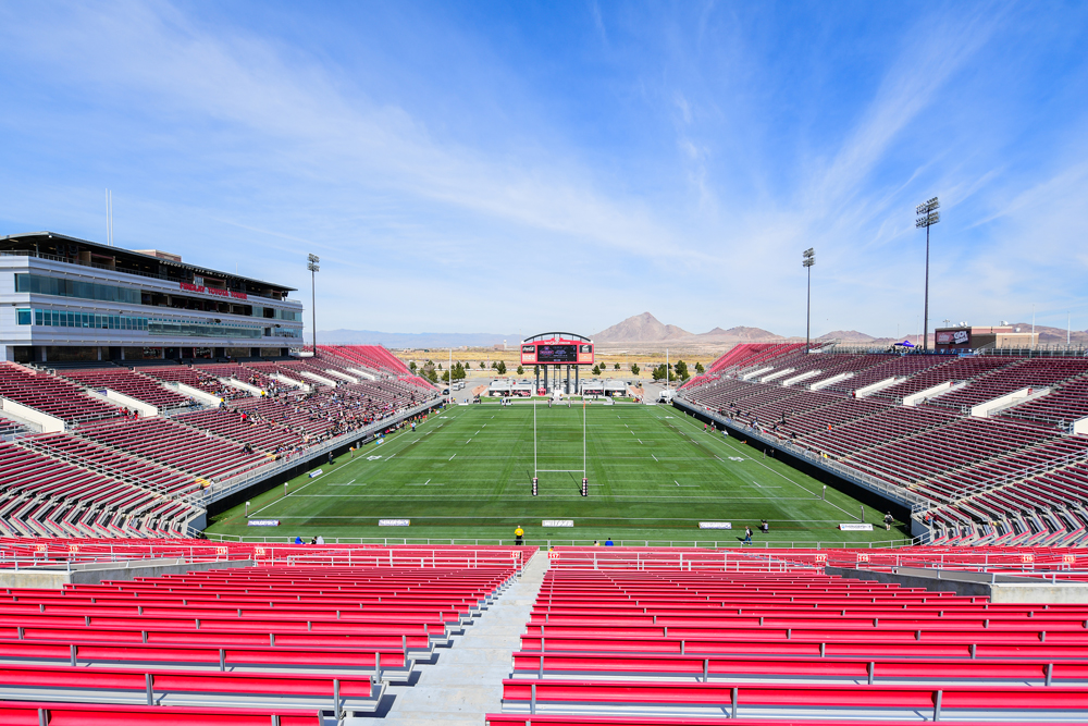 Sparsely populated stands at Sam Boyd Stadium in Las Vegas on the weekend. Photo: Stuart Walmsley