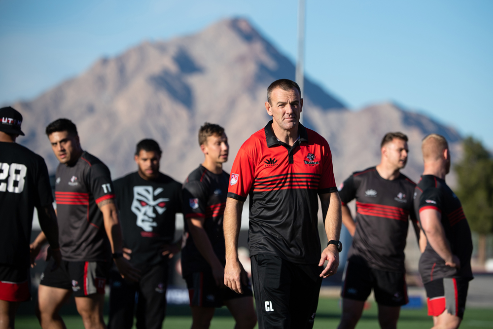 Chris Latham runs a Utah Warriors session at Sam Boyd Stadium prior to MLR's Vegas Weekend. Photo: Stuart Walmsley