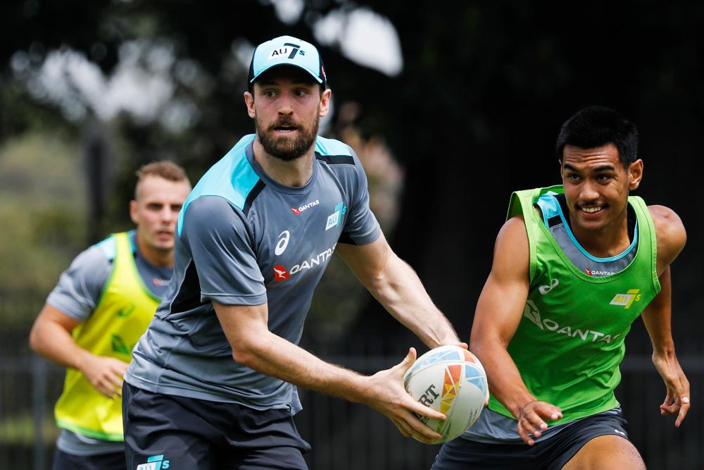 Luke Morahan training with the Aussie Sevens. Photo: Rugby AU/Karen Watson