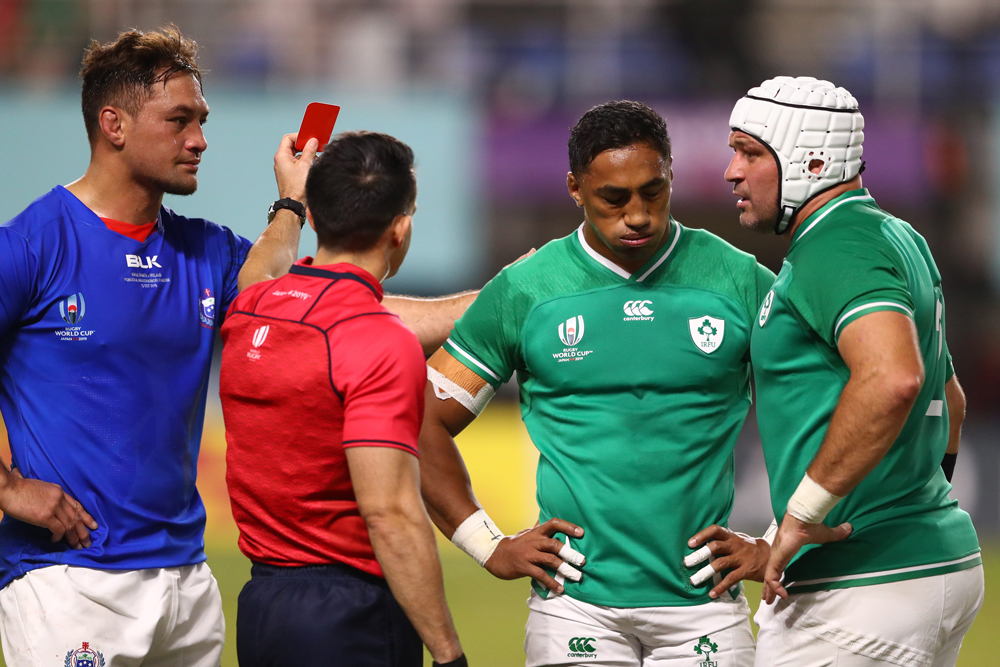 Bundee Aki was sent off for a high tackle in Ireland's win over Samoa. Photo: Getty Images