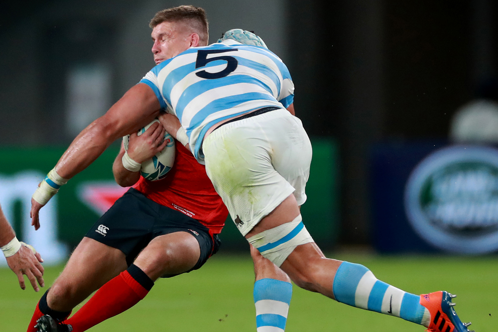 Argentina's Tomas Lavanini was red carded for this tackle on Owen Farrell at the World Cup. Photo: Getty Images