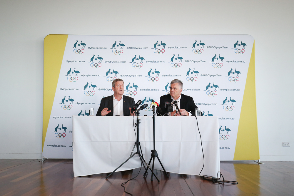 AOC CEO Matt Carroll and chef de mission Ian Chesterman speak to media on Thursday. Photo: Getty Images