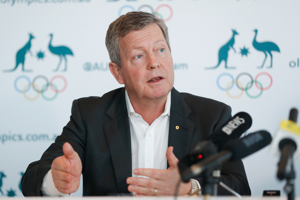 AOC CEO Matt Carroll speaks to media about COVID-19 and the Olympics. Photo: Getty Images