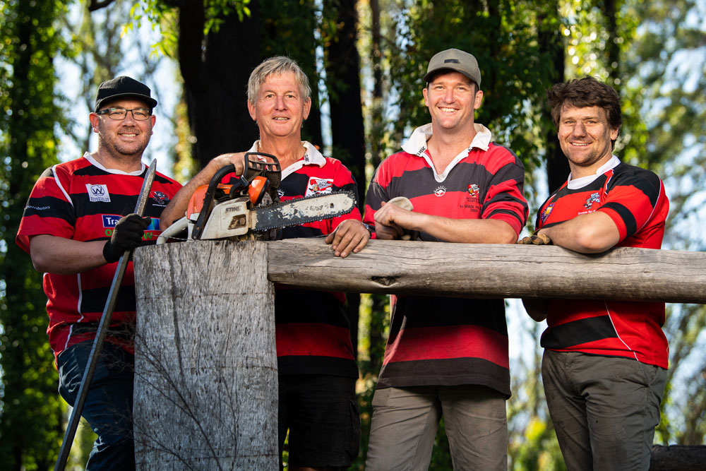Jim Roberts, Peter Ryan, Matt Ryan and Andrew Fleming of the Boars in clean-up mode. Photo: Rugby AU Media/Stuart Walmsley