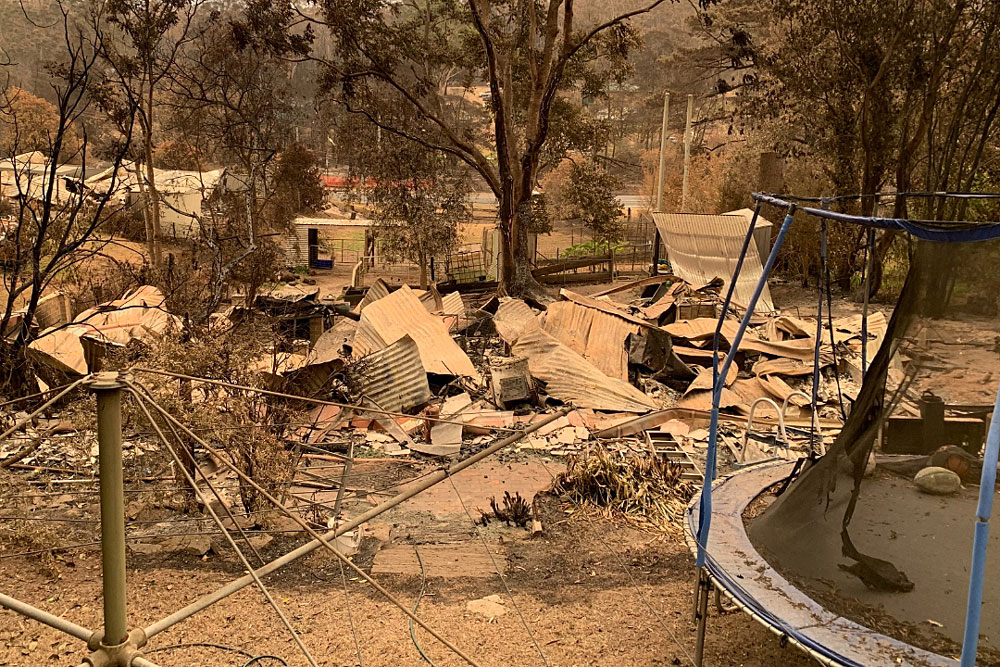 The McGanns' home after fire ripped through Mogo on the New Year's Eve. Photo: Supplied