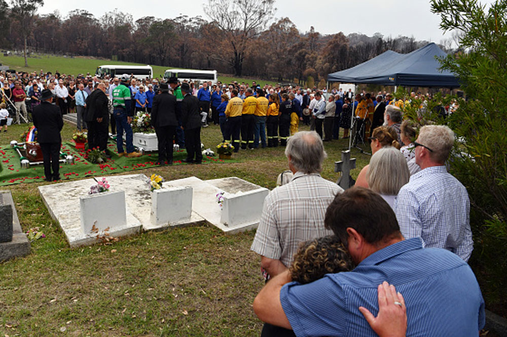 The funeral of Patrick and Robert Salway in Cobargo on January 24. Photo: Getty Images