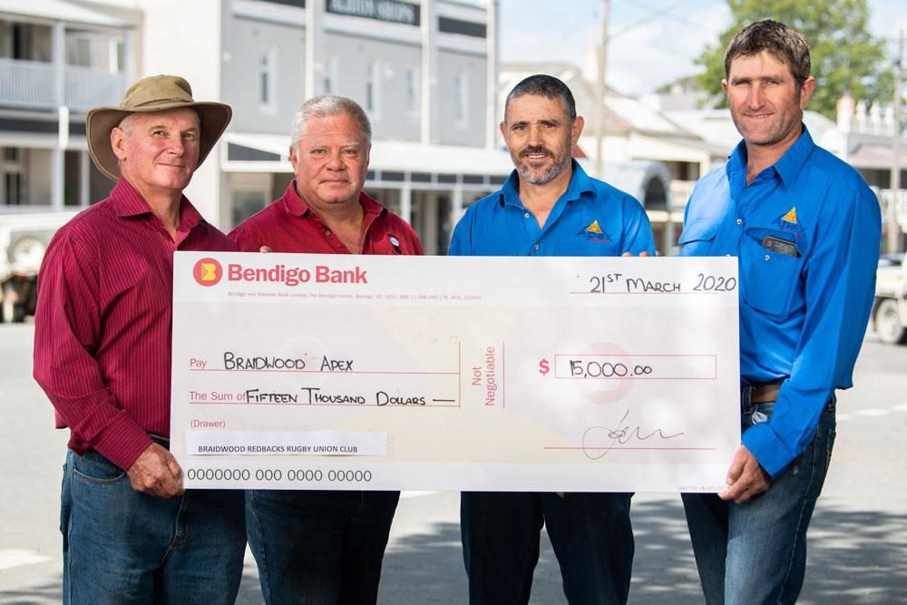 Mick McGrath and Nick Kemp of the Redbacks and Derek Tooth and Troy Vardanega of Braidwood Apex. Photo: Rugby AU Media/Stuart Walmsley