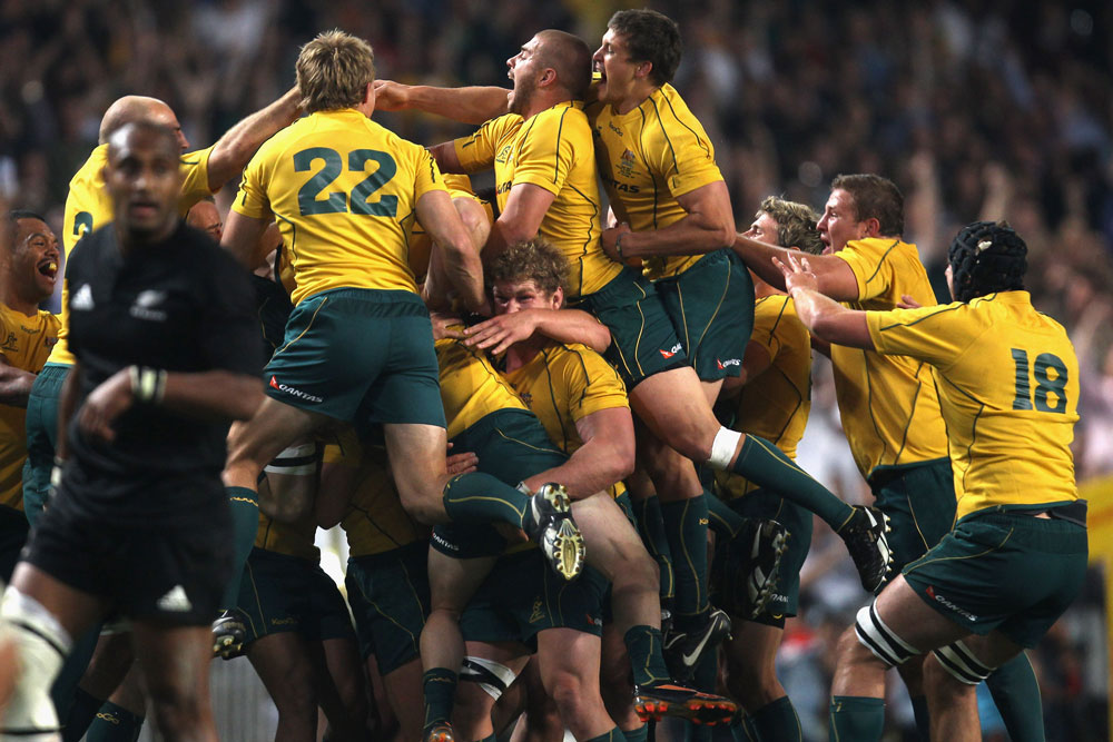 The celebrations were large after the iconic kick. Photo:Getty Images