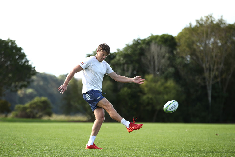 Beauden Barrett trains alone in isolation. Photo: Getty Images