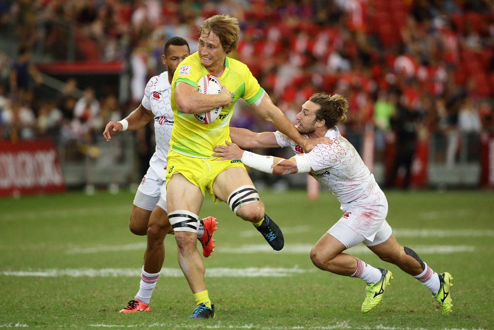 Jesse Parahi in action for the Aussie Sevens. Photo: Getty Images