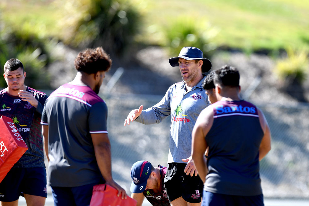 Brad Thorn speaks to players at training on Monday. Photo: Getty Images