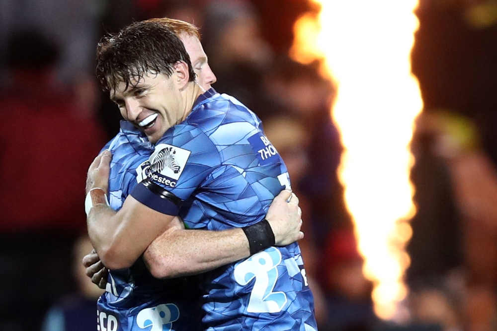 Beauden Barrett celebrates the Blues' second Super Rugby Aotearoa win. Photo: Getty Images