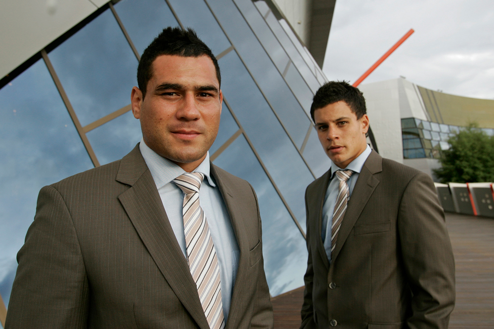 Matt To'omua (right) with George Smith at his first Super Rugby season launch in 2008. Photo: Getty Images
