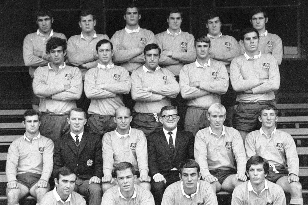 Steve Knight (back row, third from left) began his Wallabies career in the late 1960s. Photo: Supplied