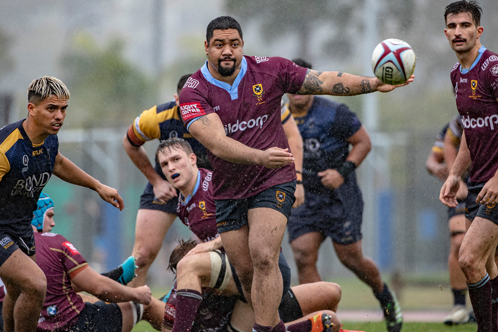 Albert Anae in action for UQ in a trial match. Photo: QRU Media